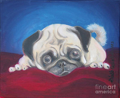 The Red Velvet Pug Original by Dindin Coscolluela