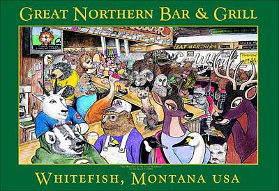 Mountain Goat Mixed Media - The Regulars At The Great Northern by Jeff Arcel