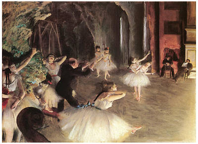 Ballet Dancers On The Stage Painting - The Rehearsal On The Stage by Edgar Degas