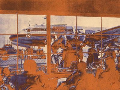 The Restaurant At Schiphol Orange Art Print by Nop Briex