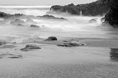 Photograph - The Revealed Shoreline Black And White by Margaret Pitcher