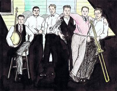 Trombone Drawing - The Rhythm Jugglers by Mel Thompson