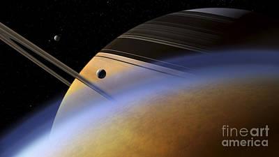 The Ringed Giant Saturn Rises Art Print by Steven Hobbs