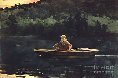 Landscape Mountain Trees Fisherman Painting - The Rise by Pg Reproductions