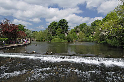 The Riverside And Weir - Bakewell Art Print by Rod Johnson