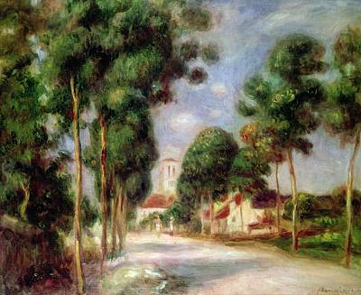 In A Row Painting - The Road To Essoyes by Pierre Auguste Renoir