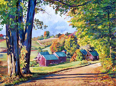 Americana Painting - The Road To Jenne Farm Vermont by David Lloyd Glover