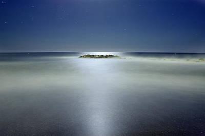 The Rock Island Under De Moonlight Art Print by Guido Montanes Castillo