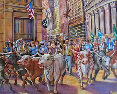 The Running Of The Bulls Art Print by Henry David Potwin