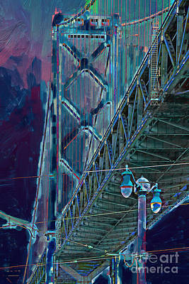 Bay Bridge Digital Art - The San Francisco Oakland Bay Bridge by Wingsdomain Art and Photography