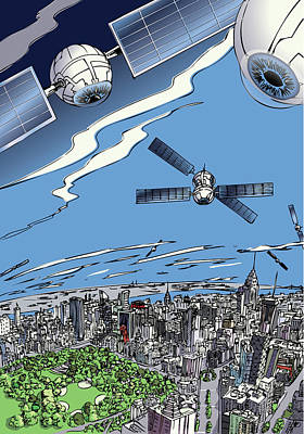 Digital Art - The Satellites Are Watching Us by John Gibbs
