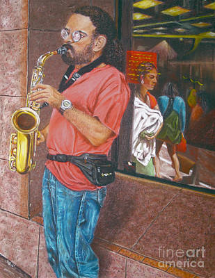 Store Fronts Painting - The Saxophonist by Jim Barber Hove