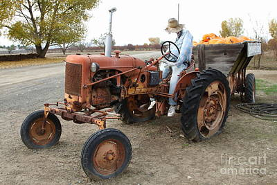 The Scarecrow Riding On The Old Farm Tractor . 7d10299 Art Print by Wingsdomain Art and Photography