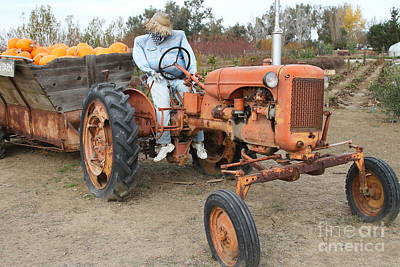 The Scarecrow Riding On The Old Farm Tractor . 7d10300 Art Print by Wingsdomain Art and Photography