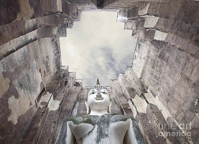 The Sculpture Of Buddha And Blue Sky In Historical Park Thailand  Original by Anek Suwannaphoom