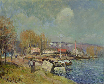 Flagpole Painting - The Seine At Port-marly by Alfred Sisley