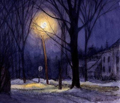 Watercolor Winter Scene Painting - The Sentinal by Arthur Barnes