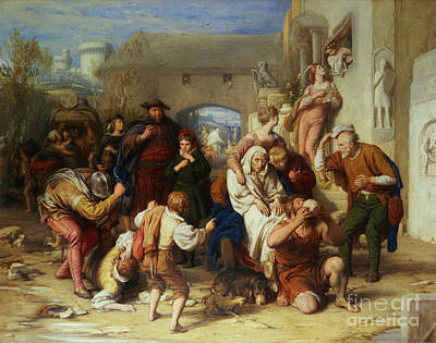 Old Lady Painting - The Seven Ages Of Man by William Mulready
