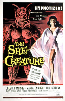 Postv Photograph - The She-creature, Paul Blaisdell, Marla by Everett