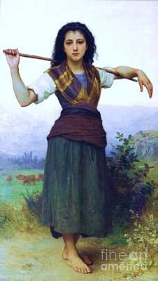 The Shepherdess Art Print by Pg Reproductions