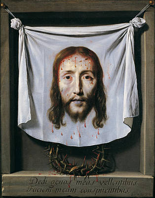 Shrouded Painting - The Shroud Of St Veronica by Philippe de Champaigne