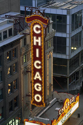 The Sign Outside The Chicago Theater Art Print