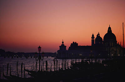 The Skyline Of Venice Silhouetted Art Print by Nicole Duplaix