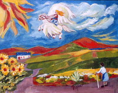 Wheelchair Painting - The Sky's The Limit With Pegasus And Spirited Girl by Betty Pieper