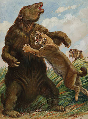 The Slow Megatherium Was No Match Art Print by Charles R. Knight
