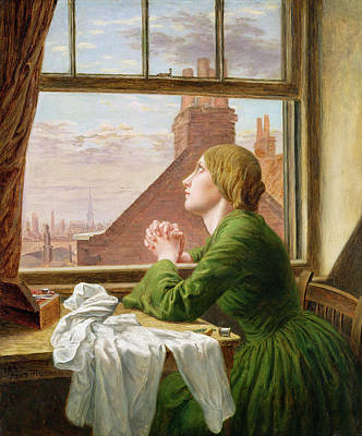 Seamstress Painting - The Song Of The Shirt by Anna E Blunden