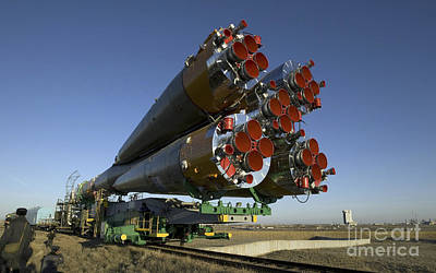 The Soyuz Rocket Is Rolled Art Print by Stocktrek Images