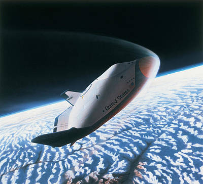 The Space Shuttle Re-entering The Earths Atmosphere Art Print by Stockbyte