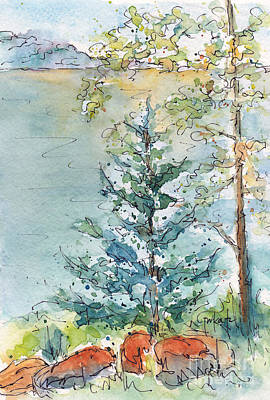 Painting - The Spruce And The Poplar by Pat Katz