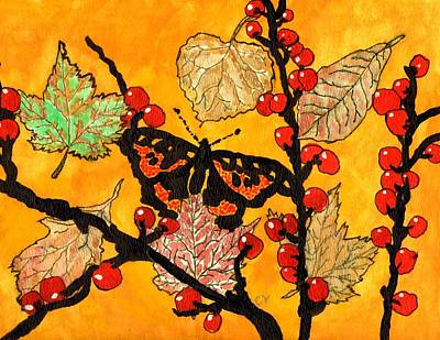 Orange And Black Butterfly Painting - The Start Of Fall by Connie Valasco