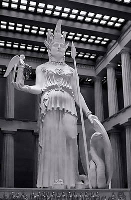 The Statue Of Athena Bw Art Print by Linda Phelps
