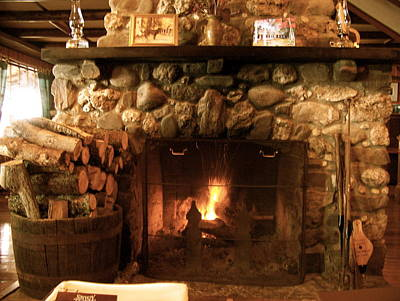 Stone Fireplace Art Print