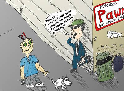 Financial Mixed Media - The Street Corner Broker by OptionsClick BlogArt