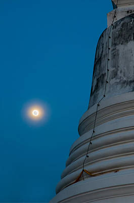 The Stupa In The Night During Full Moon Art Print by Ulrich Schade