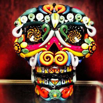 Glass Art Photograph - The Sugar Skull by Travis  Dutra Magweedo