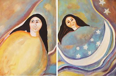 Yaqui Painting - The Sun And Moon A Yacqui Story by Gemma Benton Jackson