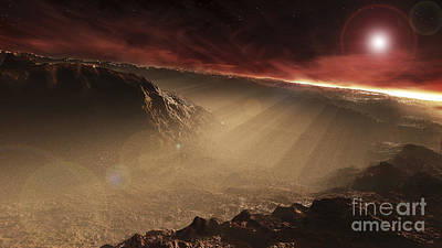 Crater Digital Art - The Sun Rises Over Gale Crater, Mars by Steven Hobbs