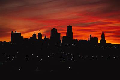 The Sun Rises Over The Skyline Art Print by Stephen Alvarez