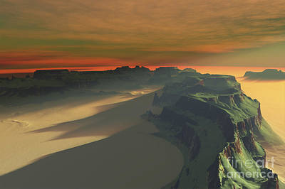 Mountainous Digital Art - The Sun Sets On This Desert Landscape by Corey Ford