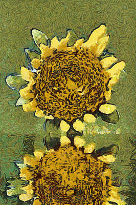 The Sunflower Reflection Art Print by Odon Czintos