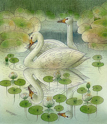 the Swans Art Print by Kestutis Kasparavicius