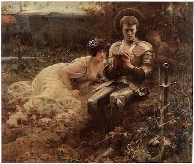 The Temptation Of Sir Percival Art Print by Arthur Hacker