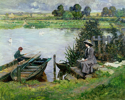 Woman Fishing Painting - The Thames At Benson by Albert Chevallier Tayler