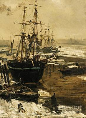 Painting - The Thames In Ice by Pg Reproductions
