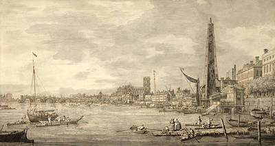 The Thames Looking Towards Westminster From Near York Water Gate  Art Print by Giovanni Antonio Canaletto