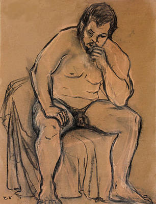 Male Nude Drawing Drawing - The Thinker by Ethel Vrana